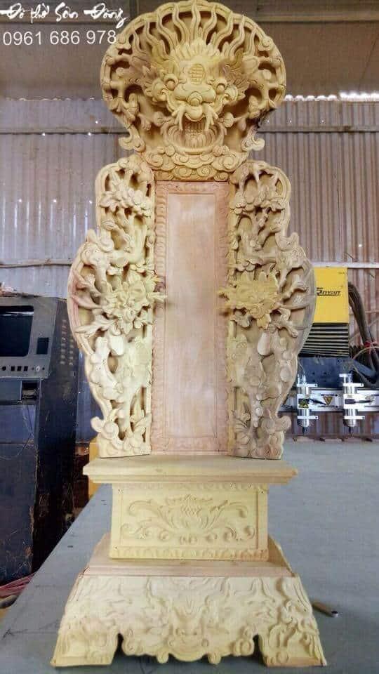 Bài vị thờ chạm rồng gỗ mít-2