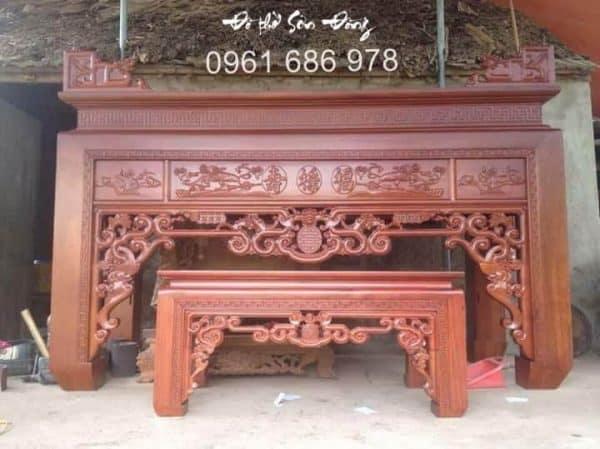 Bộ bàn thờ Ngũ Phúc gỗ gụ