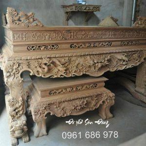 Bộ sập thờ Tứ Linh hổ phù gỗ gụ