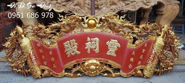 Cuốn thư Tứ Linh gỗ mít sơn son