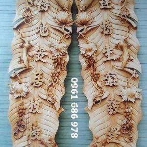 Đôi câu đối lá chuối gỗ gụ