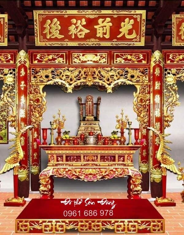 Mẫu hoành phi câu đối đẹp bằng gỗ tnhà thờ họ