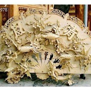 Quạt thờ Mai Điểu gỗ mít