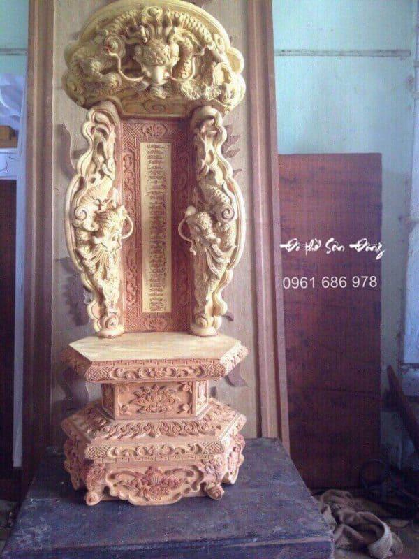 Bài vị thờ chạm rồng gỗ mít-1