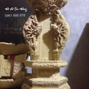 Bài vị thờ chạm rồng gỗ mít
