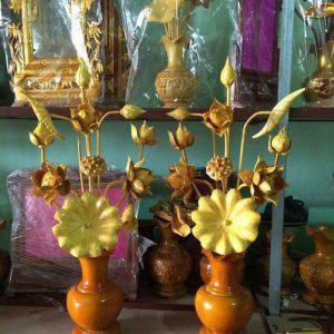 Bình hoa sen gỗ để bàn thờ