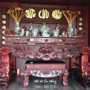 Bộ sập thờ Tứ Linh, hoành phi câu đối gỗ gụ