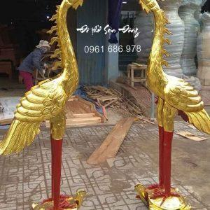 Đôi hạc thờ gỗ mít cao 1,7m