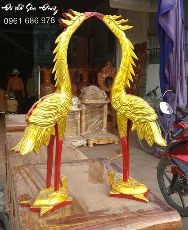 Đôi hạc thờ gỗ mít để bàn thờ