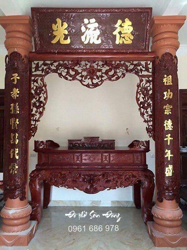 Hoành phi Đức Lưu Quang kèm đôi câu đối gỗ gụ