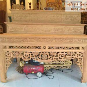 Mẫu bàn thờ án gian tam cấp gỗ mít, gỗ dổi, gỗ gụ