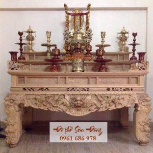 Sập thờ Tứ Linh tam cấp gỗ gụ