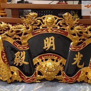 Cuốn thư Rồng chầu mặt Nguyệt sơn son thếp vàng