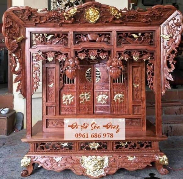 Khám thờ gỗ hương dát vàng 9999