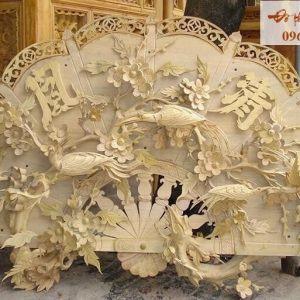 Quạt thờ chim công gỗ mít