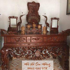 Sập thờ con dơi chữ Phúc gỗ gụ
