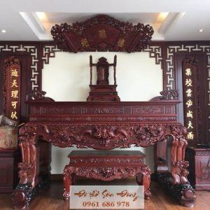 Sập thờ Tứ linh chân nghê gỗ gụ