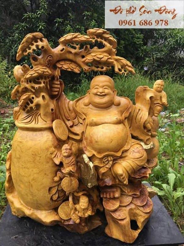 Tượng Phật Di Lặc gỗ nu kháo