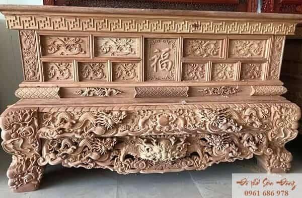 Mẫu sập thờ đẹp bằng gỗ của làng nghề Sơn Đồng-8