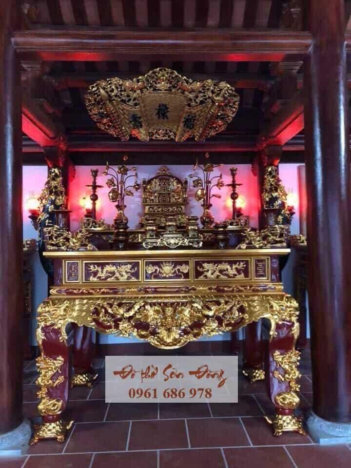 Sập thờ chạm Rồng chân rùa sơn son thếp vàng