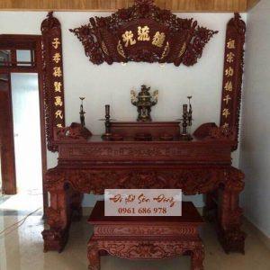 Sập thờ gỗ gụ đục Tứ Linh