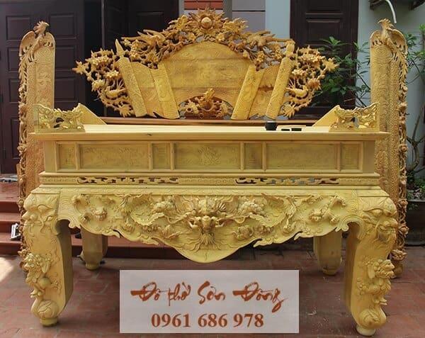 Sập thờ gỗ mít đẹp, giá tốt của làng nghề Sơn Đồng
