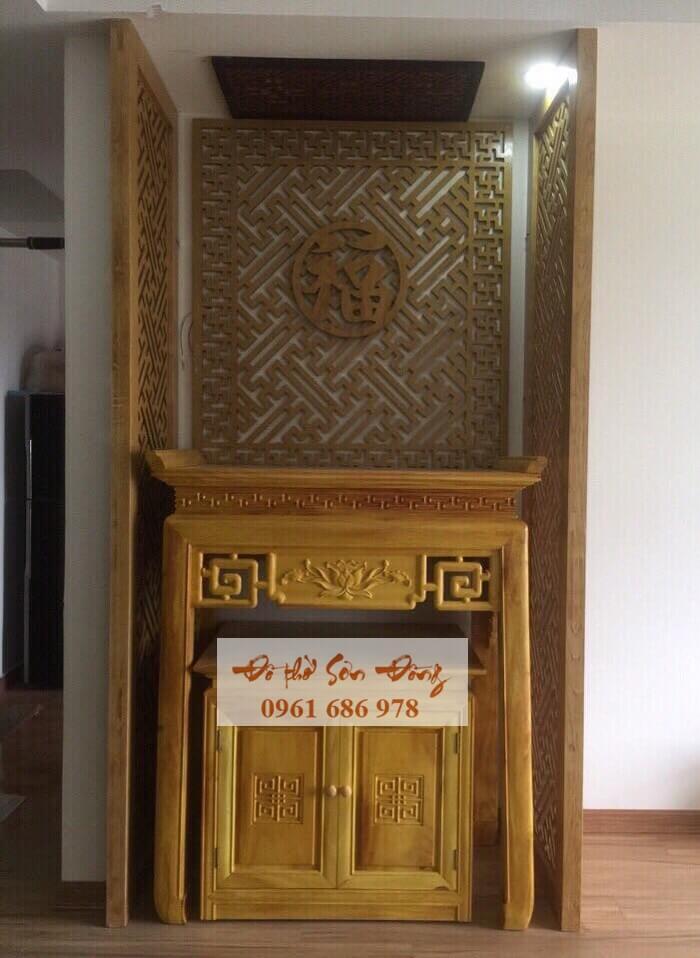 Án gian thờ hoa sen hiện đại kèm tủ