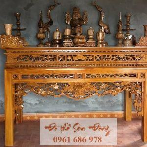 Mẫu bàn thờ gỗ chạm đầu Rồng loại đẹp