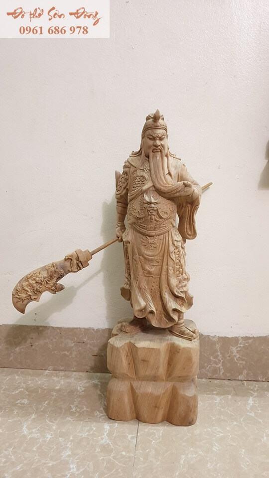 Tượng thờ Quan Công gỗ bách xanh nguyên khối-1