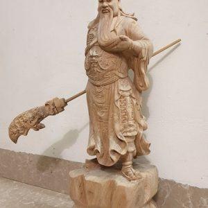 Tượng thờ Quan Công gỗ bách xanh nguyên khối-2