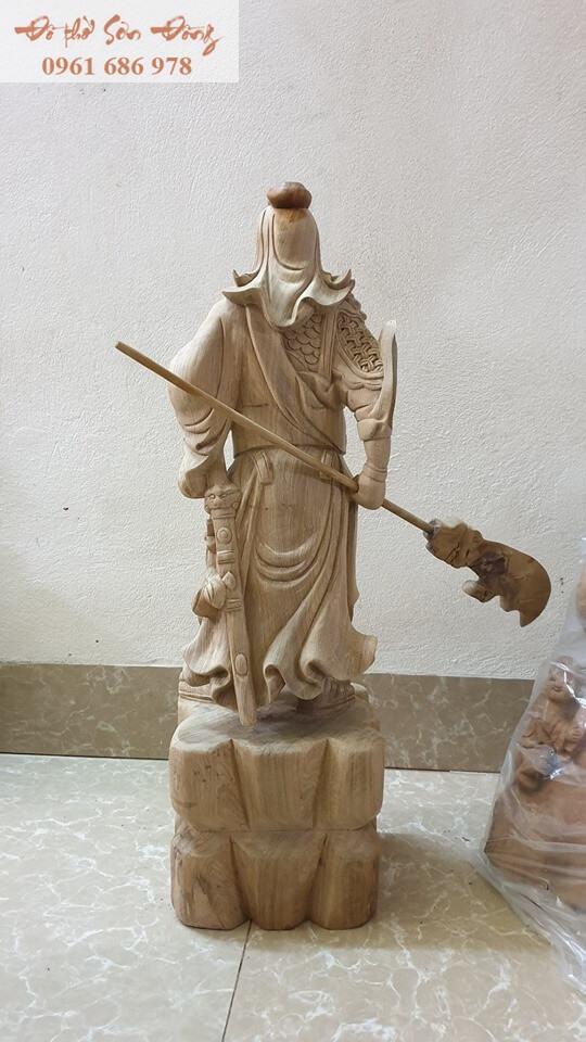Tượng thờ Quan Công gỗ bách xanh nguyên khối-3