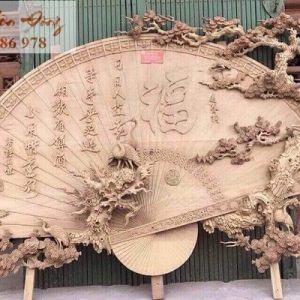 Quạt thờ khổ lớn Tùng Hạc gỗ mít, gỗ dổi, gỗ gụ