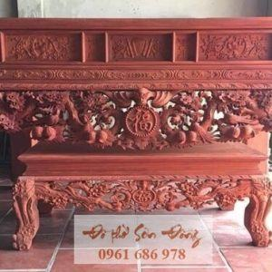 Sập thờ Mai Điểu gỗ gụ chân 22 kèm bàn con