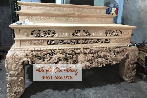 Sập thờ Mai Điểu gỗ dổi, gỗ mít, gỗ gụ-2